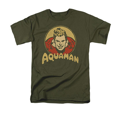 Aquaman Men's Gray Retro Circle Tee Shirt
