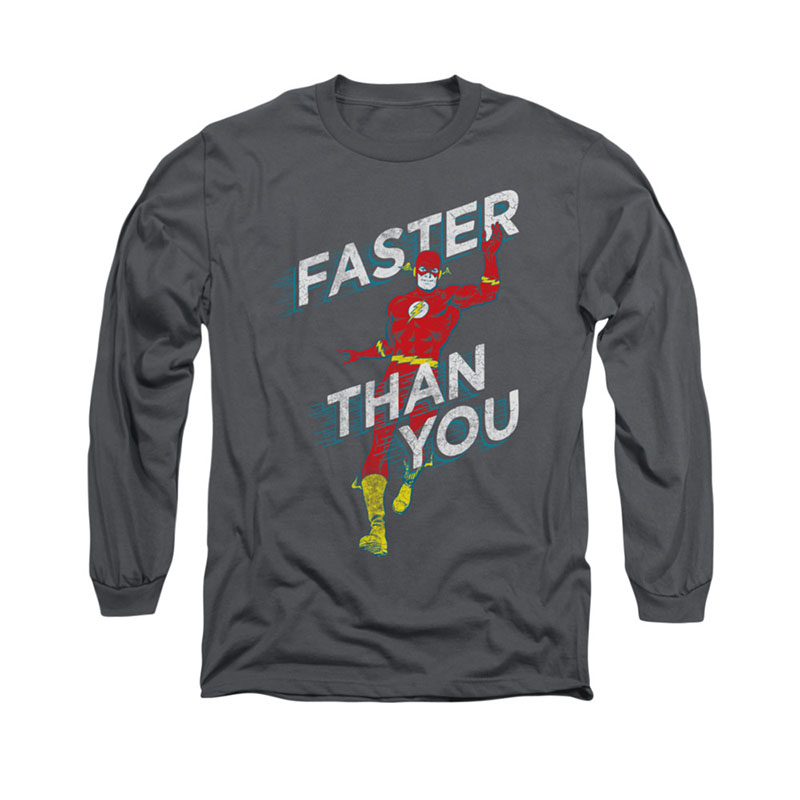 The Flash Faster Than You Gray Long Sleeve T-Shirt