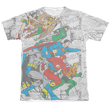 Justice League Men's Sublimation Face Off Tee Shirt