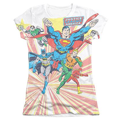 DC Comics Justice League Juniors White Coming At You Sublimaton Tee Shirt