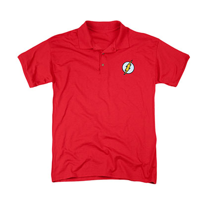 The Flash Embroidered Logo Red Polo Shirt