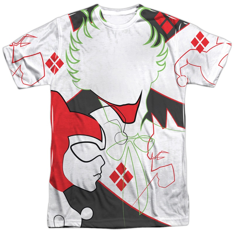 Joker and Harley Quinn Line Drawing Front and Back Print Tshirt