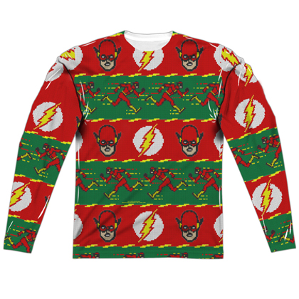 The Flash Ugly Christmas Sweater Print Long Sleeve Tee