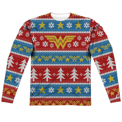 Wonder Woman Ugly Christmas Sweater Print Long Sleeve Tee