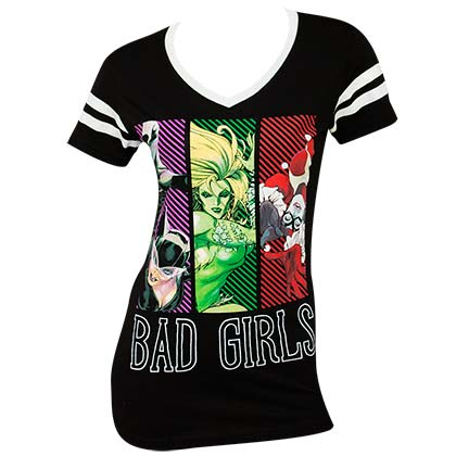 Justice League Bad Girls Ladies Black Tee Shirt