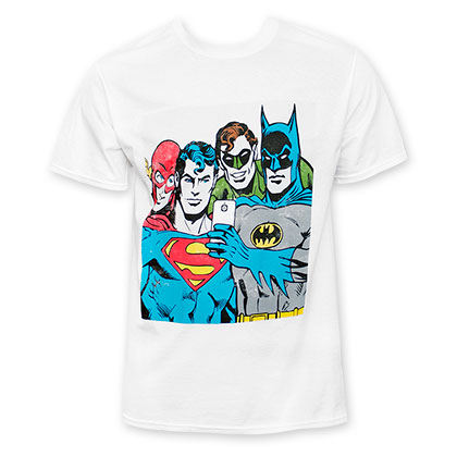 DC Comics Men's White Selfie Tee Shirt