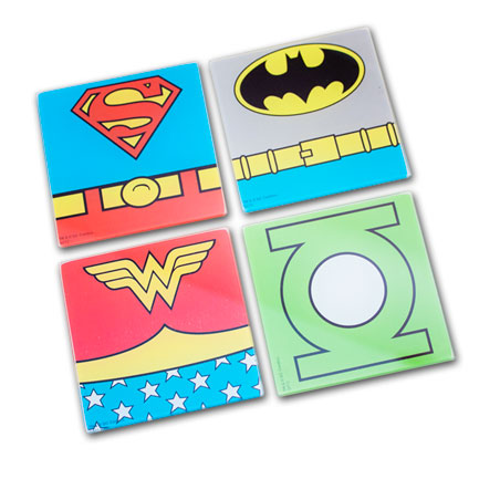 DC Comics Set of 4 Glass Coasters