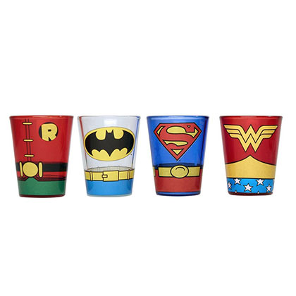 DC SUPERHEROES UNIFORMS 4 PC SHOT GLASS SET PLACEHOLDER