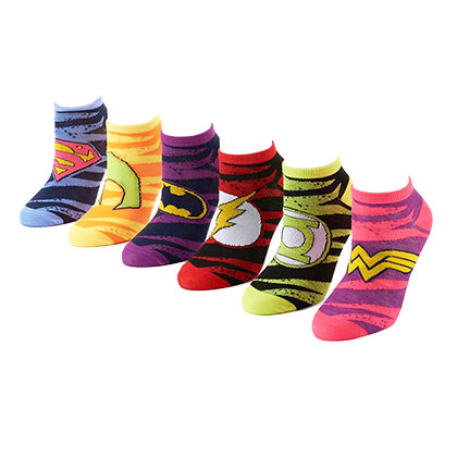 DC COMICS LOGOS WOMENS 6 PACK STRIPED SOCKS PLACEHOLDER