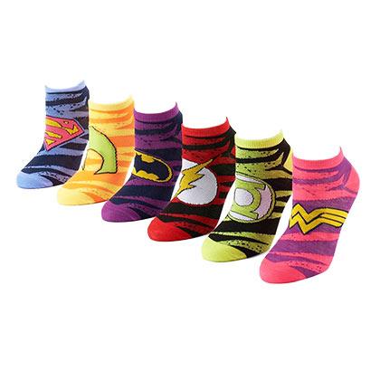 DC Comics 6 Pack Women's Striped Ankle Socks