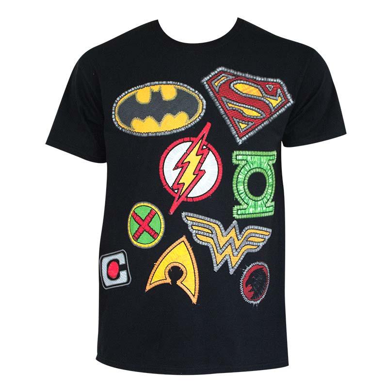 Justice League Men's Black Patch Logos T-Shirt
