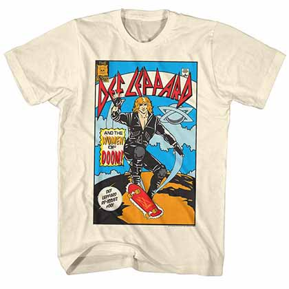 Def Leppard Comic Mens Cream T-Shirt