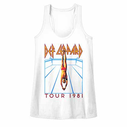 Def Leppard He's Swimming Womens White T-Shirt