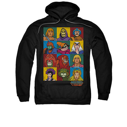 He-Man Masters Of The Universe Heads Black Pullover Hoodie