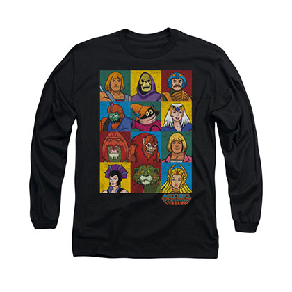 He-Man Masters Of The Universe Faces Black Long Sleeve T-Shirt