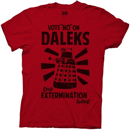 Doctor Who Vote No On Daleks Red Tshirt