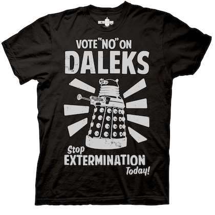 Doctor Who Vote No On Daleks Black Tshirt