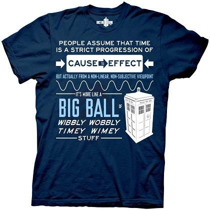 Doctor Wibbly Wobbly Timey Wimey Stuff Navy Tshirt