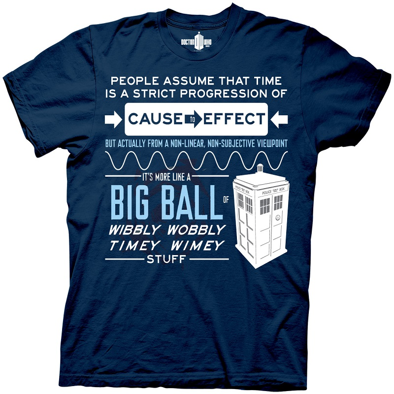 04edd3c55 item was added to your cart. Item. Price. Doctor Wibbly Wobbly Timey Wimey  Stuff Navy Tshirt