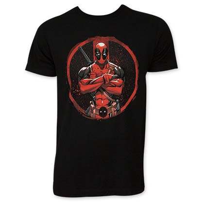 Deadpool Crossed Black T-Shirt