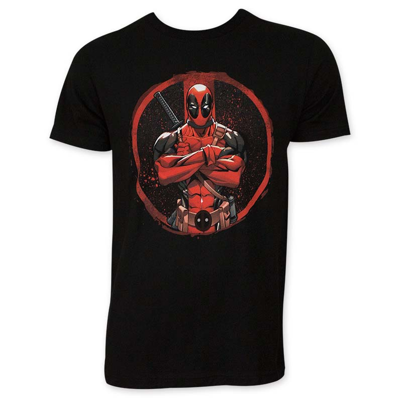 Deadpool Men's Black Crossed Tee Shirt