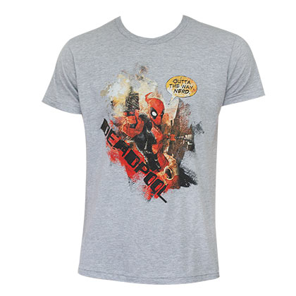 Deadpool Comic Outta The Way Grey Shirt