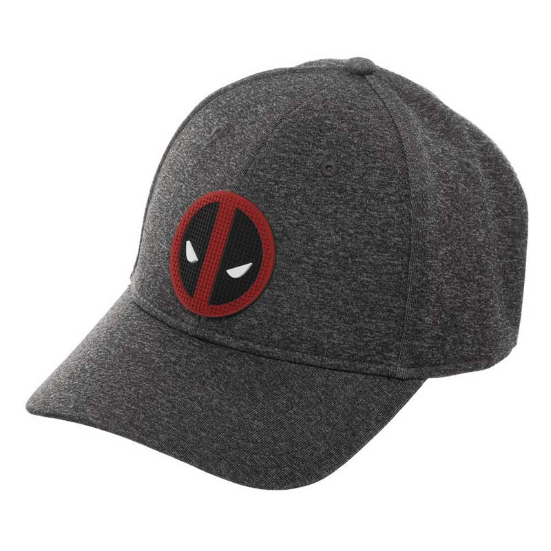 Deadpool Rubber Superhero Logo Grey Flexfit Hat