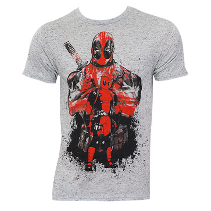 Deadpool Heather Grey Splatter T-Shirt