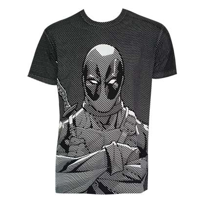 Deadpool Men's Black Halftone Striped T-Shirt