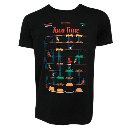 Deadpool Taco Time Game Men's Black Tee Shirt