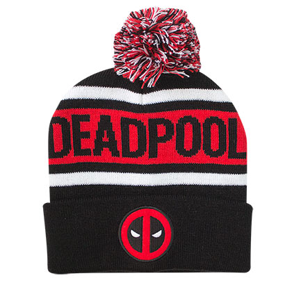 Deadpool Logo Winter Cuff Pom Beanie