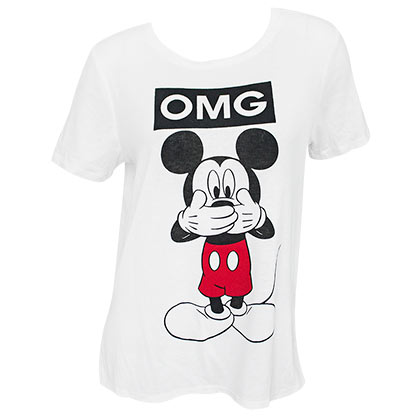 Mickey Mouse OMG Women's White Tee Shirt
