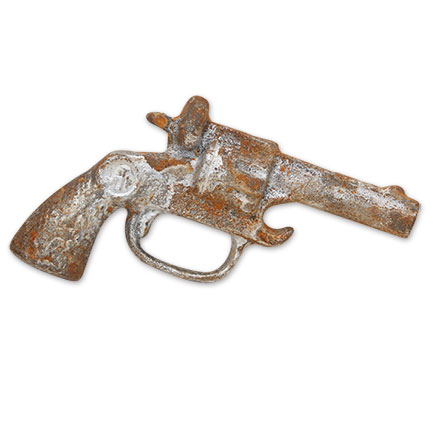 Revolver Cast Iron Hand Painted Gun Bottle Opener