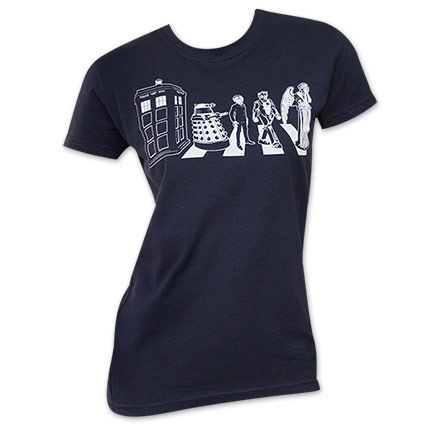 Doctor Who Women's Crossing Abbey Road Navy Blue T-Shirt