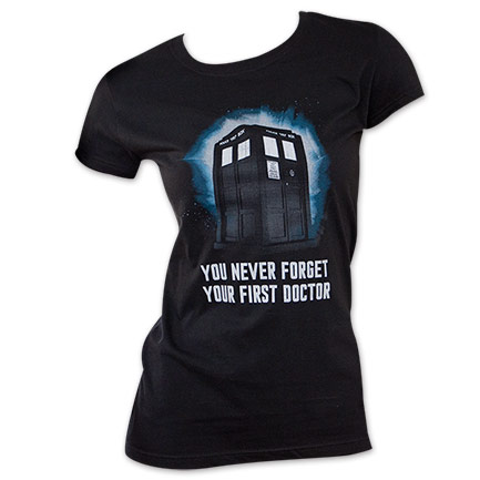 Women's Black Dr. Who Never Forget Tee Shirt