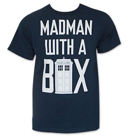 Men's Black Doctor Who Madman With A Box Tee Shirt