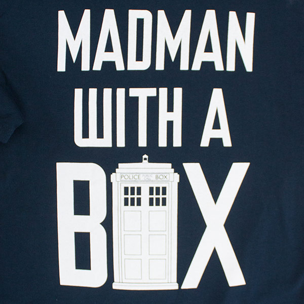 Doctor Who Black Madman With A Box Men's T-Shirt