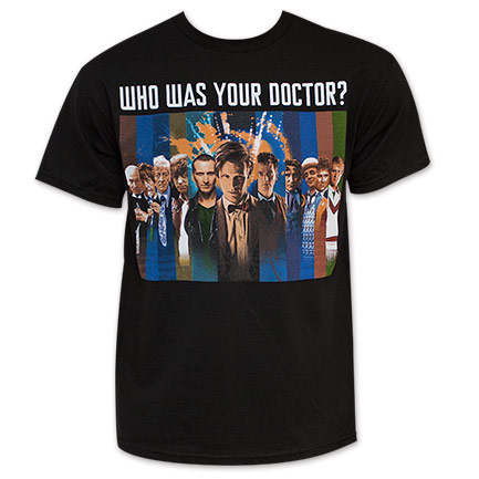 Black Dr. Who Men's Who Was Your Doctor Tee Shirt