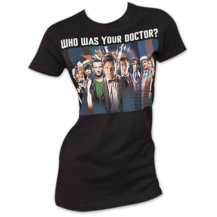 Black Dr. Who Women's Who Was Your Doctor Tee Shirt