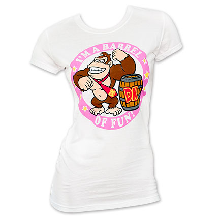 Nintendo Donkey Kong Barrel Of Fun Ladies Tee Shirt - White