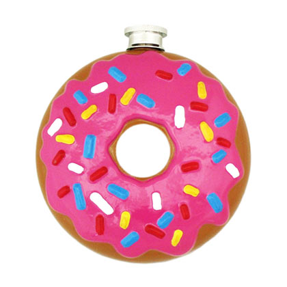 Pink Frosted Donut Flask