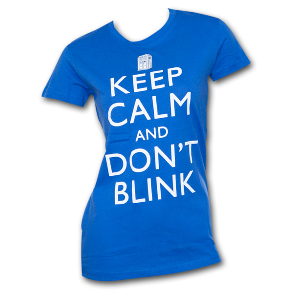 Dr. Who Keep Calm Juniors T Shirt - Blue