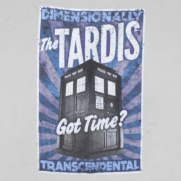 Dr. Who Dimensionally Transcendental T Shirt - Grey