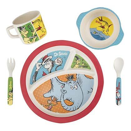 Dr. Seuss 5 Piece Bamboo Mealtime Dishware Set
