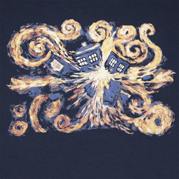 Doctor Who Van Gogh TARDIS Navy Blue Graphic Tee Shirt