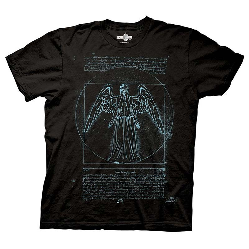 Doctor Who Men's Black Vitruvian Angel T-Shirt