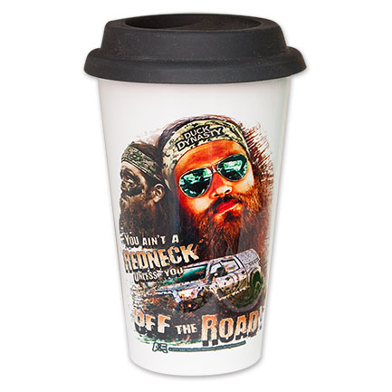 "Duck Dynasty ""Off The Road"" Ceramic Travel Coffee Cup - White"