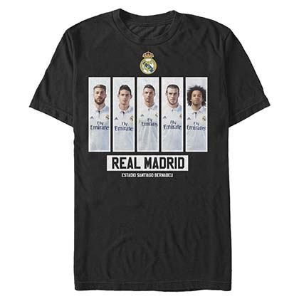 Real Madrid Lineup Soccer Black T-Shirt