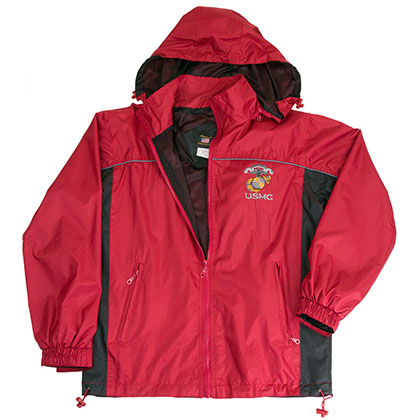 USMC Marines Windbreaker Mens Red Jacket