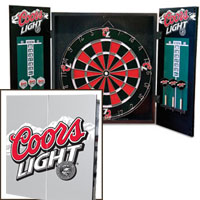 Free Shipping Coors Light Dart Board Cabinet Set